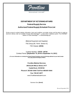 Frontline Department of Veterans Affairs GSA-FSS Contract Price List Cover